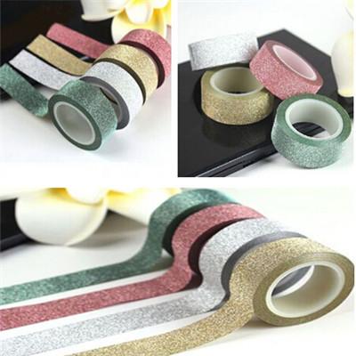 Гаджет  5M Glitter Washi Sticky Paper Masking Adhesive Tape Label DIY Craft Decor 4 Colors Colored tape CC1198 None Офисные и Школьные принадлежности