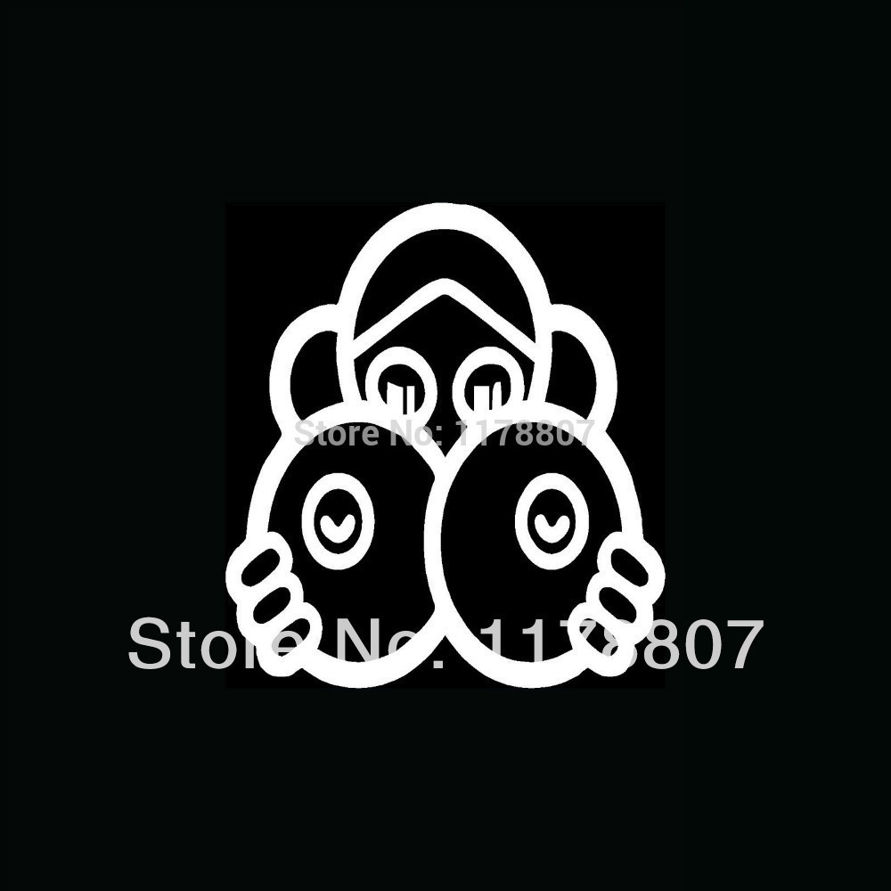 50 pcs/lot Girl Hiding Behind Huge Boobs Sticker Cute Fun Vinyl For Car Window Truck SUV Bumper Door Decal Drawing Boobies Sexy(China (Mainland))