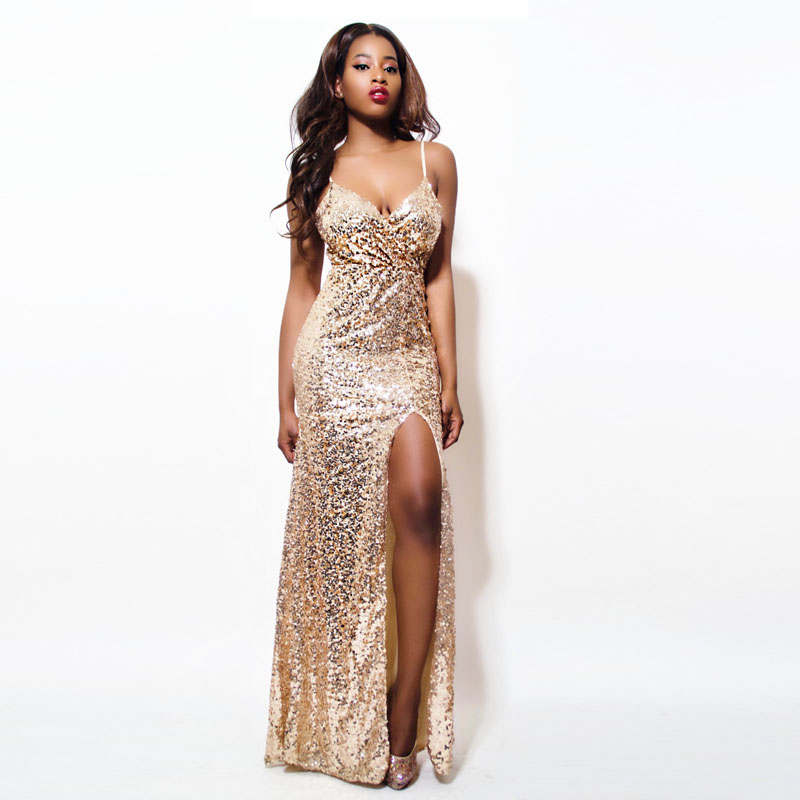 Gold Sequin Maxi Dress Elegant Evening Paillette Robe Sexy high slit Bustier Dress spaghetti strap v neck mermaid dresses(China (Mainland))