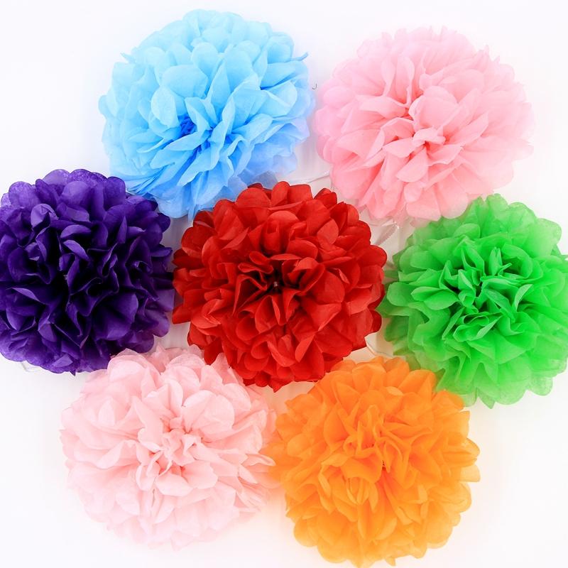 """30pcs 4"""" 6"""" 8""""(10cm 15cm 20cm) Tissue Paper Pom Poms Mix Color Flower Balls Wedding Pom Poms Wedding supplies Decoration(China (Mainland))"""
