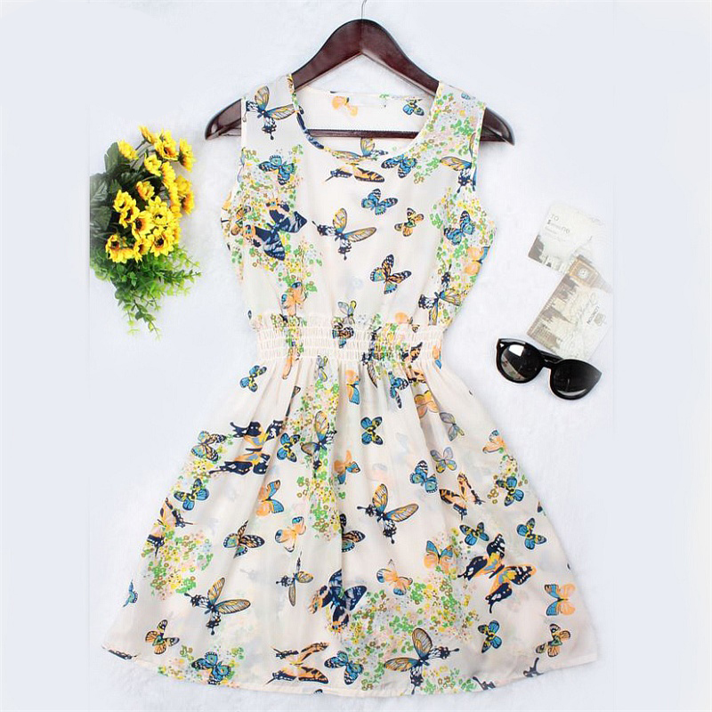 New Brand 2016 Summer Women dress Casual Print Sleeveless Dress Chiffon stripe floral print Elastic Waist Bohemian Beach Dresses(China (Mainland))