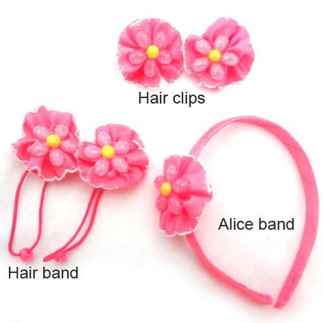 1set Girls Hair Accessories set Pink Flower Hair band Alice Band Hair clips Children Kids Fashion Headwear set(China (Mainland))