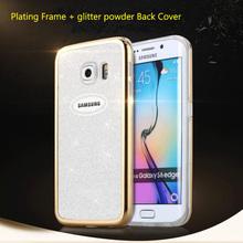 Ultrathin Powder Phone Case For Samsung Galaxy S6 Edge G9250 Plating Plastic Frame + TPU Gittle Powder Back Cover Girl Woman Bag