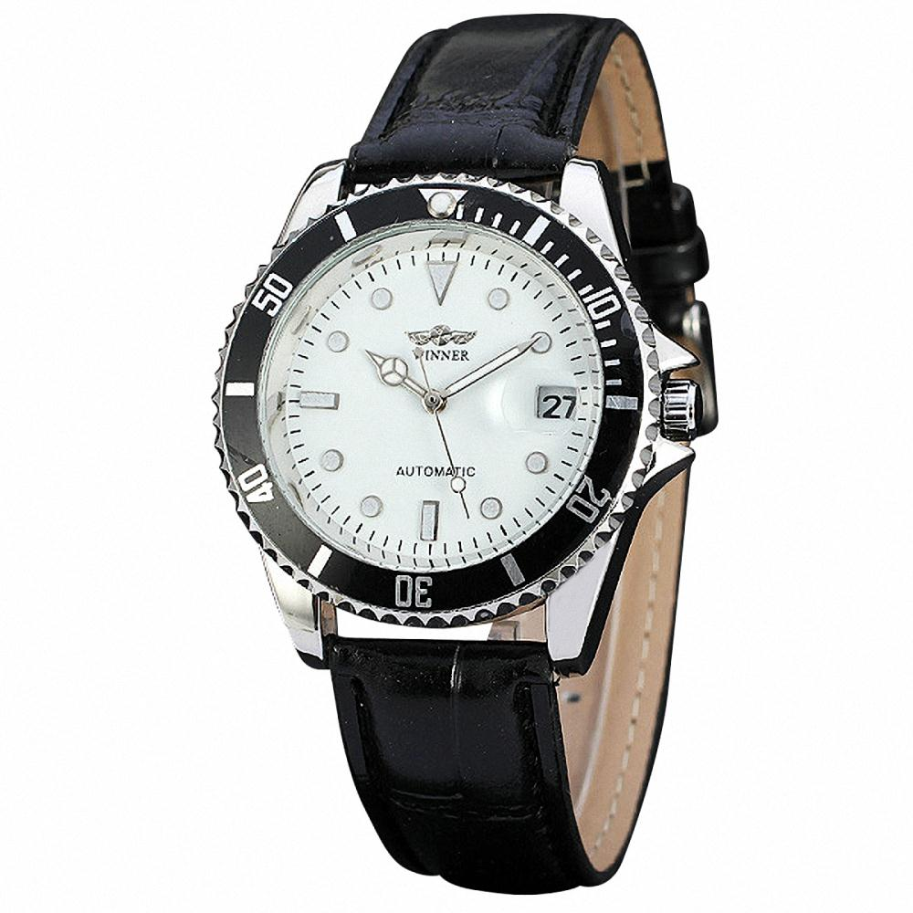 Hot Classic Men Business Automatic Mechanical Wristwatch Leather Band Auto Date Delicate Design Luxury Gift Unisex Watch+ BOX<br><br>Aliexpress