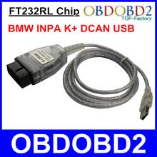 Pour BMW Inpa K peut câble Inpa K + DCAN Diagnostic K ligne USB OBDII Interface connecteur Ediabas FT232RL pour d - Can / PT-CAN / K - Can(China (Mainland))