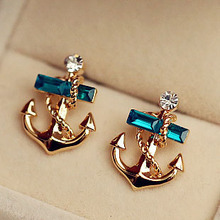 South Korea imported sea wind pirate ships anchor mariner navy wind gem crystal stud earrings B7 TT354(China (Mainland))