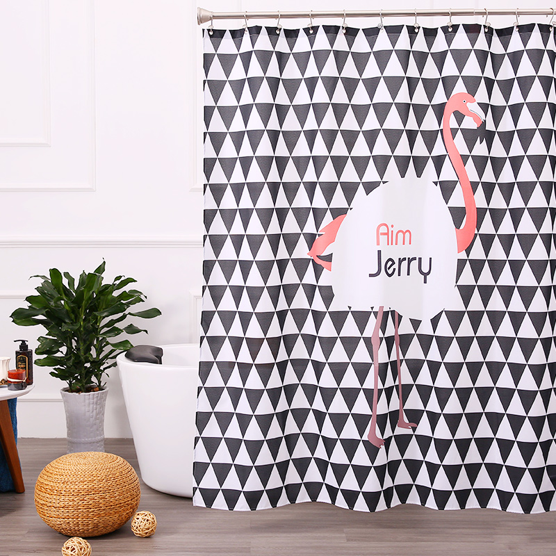 Aimjerry Freeshipping Eco-friendly New Waterproof Thicken Polyester Home Bathroom Decor Shower Curtain 180*180cm With Hooks(China (Mainland))