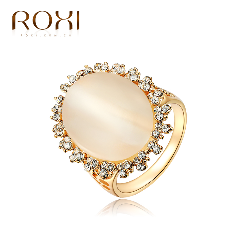 ROXI Exquisite Rings Platinum Plating Czech Drilling Lace Oval Opal Ring US Size 6/7/8/9 Environmental Micro-Inserted Jewelry(China (Mainland))