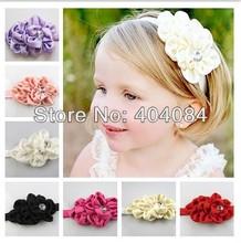 Drop shipping 1PCS New Style Baby Rhinestone Headband Hairband Girls Flower Headbands Kids Hair Accessories 7colors pick(China (Mainland))