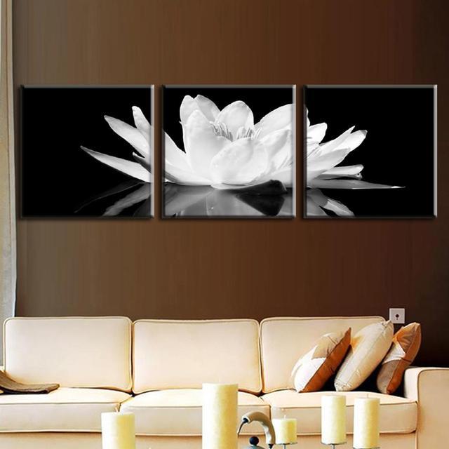 Acheter 3 pcs set toile imprimer fleur lotus blanc en noir mu - Cadre moderne pas cher ...