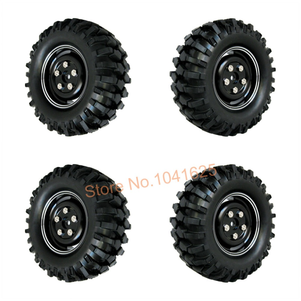 """1.9"""" Aluminum 108mm Rubber Tires & Wheel Hex 12mm For 1/10th RC Crawler Climbing Car Rock Racer HPI Redcat Racing AXIAL(China (Mainland))"""