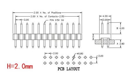 30pcs, 2mm 40 Pin Male Single Row Pin Header Strip, pin header 2.0mm male pin header connector Free Shipping