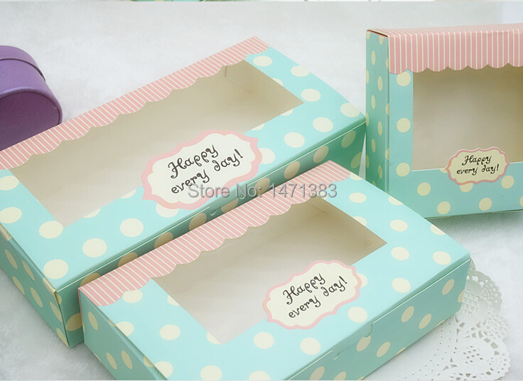 Size 21.5*13.5*5 cm Gift cake cardboard box, paper packaging box with window,paper gift box(China (Mainland))