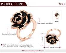 ROXI brand Black Flower Ring Rose Gold Plated set with Austrian Crystal Fashion Jewelry with big