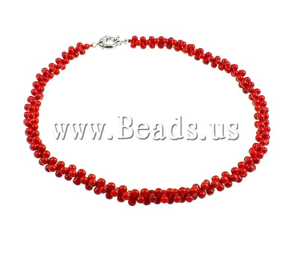 New Brand Barbell Red Natural Coral Silver Plated Spring Clasp Nacklaces For Women Men Jewelry(China (Mainland))