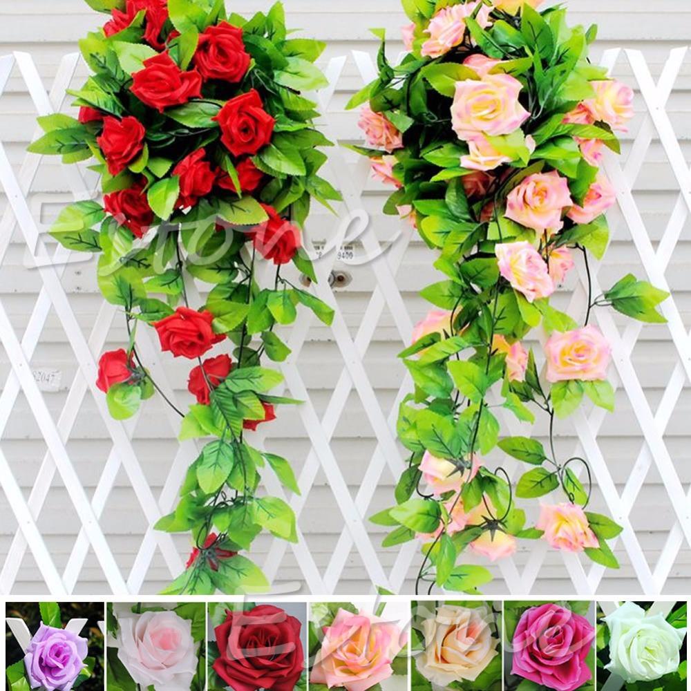 Stylish Rose Flower Fake Artificial Ivy Vine Hanging Garland Wedding Home Decor(China (Mainland))