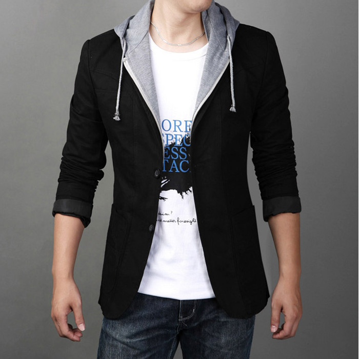 2013 autumn male blazer slim plus size with a hood casual suit jacketОдежда и ак�е��уары<br><br><br>Aliexpress