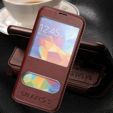 luxury original case for samsung galaxy s5 s 5 i9600 by fashion pu leather holster view phone flip window retro stand bag cover