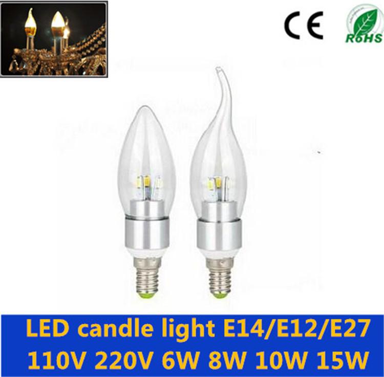 E14 E27 E12 LED candle light 6W 8W 10W 15W led bulb lamp SMD5730 110V 220V aluminum shell Chandelier Light free shipping(China (Mainland))
