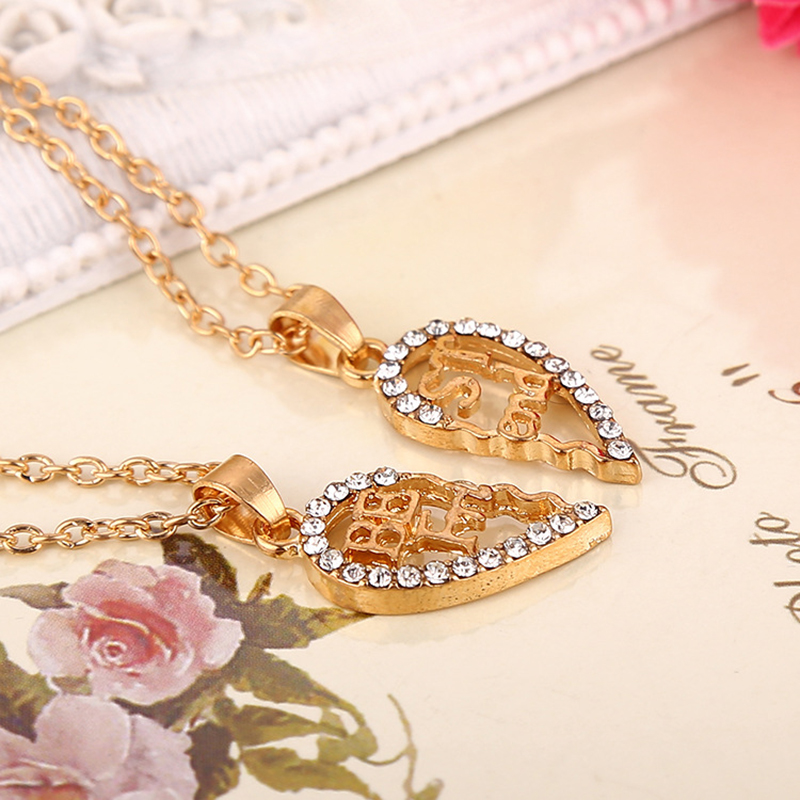 New crystal heart pendant broken piece two best friend forever necklace jewelry silver and gold plated Alloy link chain XL430(China (Mainland))