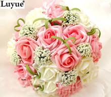Novia que sostiene las flores, nueva llegada de boda romántico de colores Bride ' s bouquet, rojo rosa azul y púrpura ramos nupciales(China (Mainland))