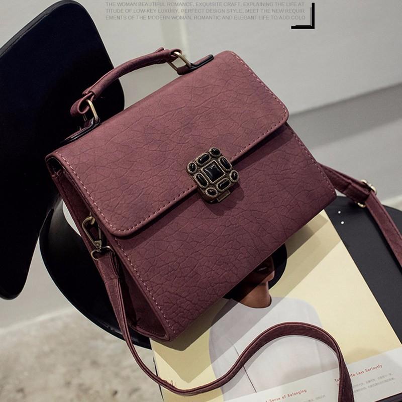 Small Flap Bag Push Lock Ladies Handbag Litchi Stria PU Leather Retro Shoulder Bag Casual Chic Women Vintage Crossbody Bag