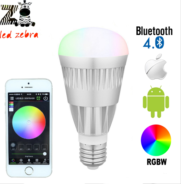E27 10w rgbw rgbww bluetooth 4.0 led bulb,smartphone control 16million colors,wireless magic color light dimmable lamp AC85-265v(China (Mainland))