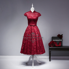 Elegant cocktail dresses Lace Scoop Open Back 2016 Red Cocktail Dress Cap Sleeve Abendkleider Real Pictures Party Dress(China (Mainland))