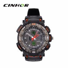 Ohsen AD1310 del deporte de hombre analógico + Digital cuarzo reloj de pulsera negro + naranja ( 1 x CR-2025 )