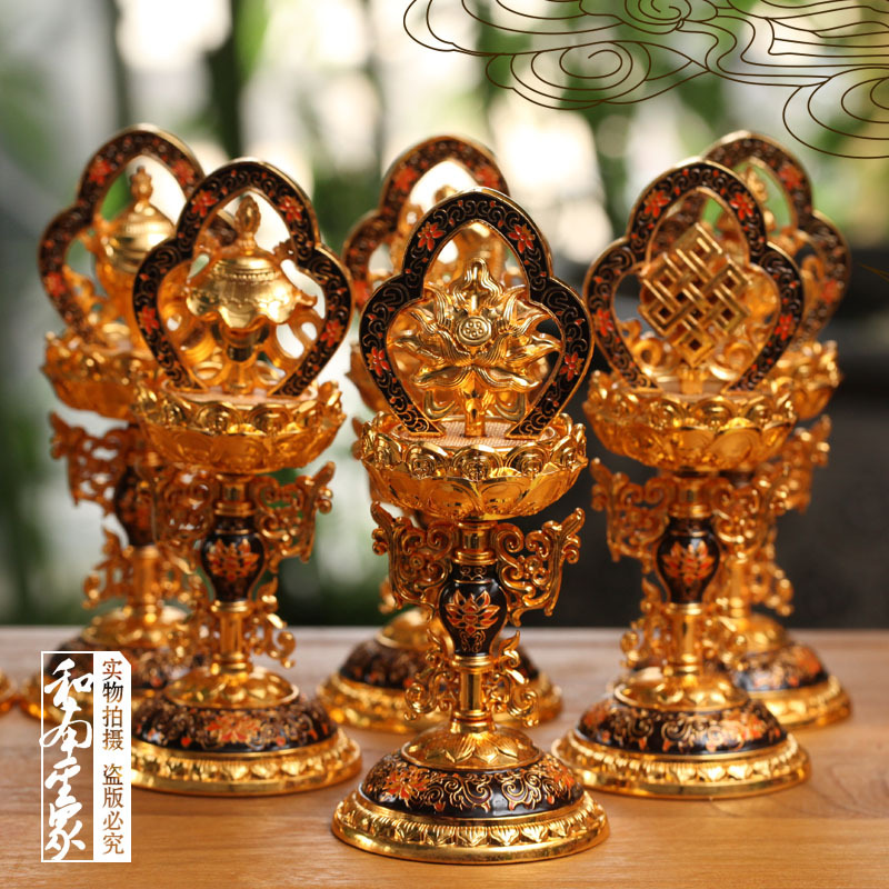 Buddhist Relic - MERITS will accumulate reward for instruments used enamel paint eight auspicious by many friends and eliminate(China (Mainland))