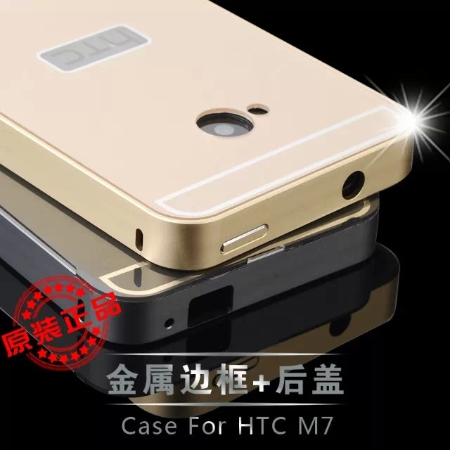 Fashion Ultra thin Metal Aluminum Alloy Frame Aviation Cover Acrylic Back Capa Carcasa Plastic Case Fundas for For HTC ONE M7(China (Mainland))