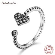 Shineland 2017 Новый Стерлингового Серебра 925 Сердце Открыть Палец Кольцо с Ясно CZ Кольцо Для Женщин Свадебные Украшения День святого валентина подарок(China (Mainland))