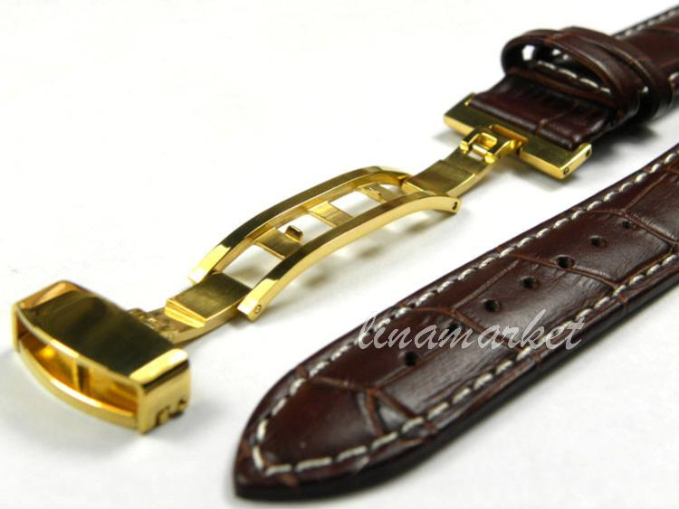 18mm (Buckle 16mm) Man Gold Butterfly Buckle Brown Genuine Leather Watchbands Strap H73Gb(China (Mainland))