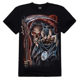 Free Shipping Europe Fashion Skull Design Print Cotton Black T Shirt Metal Style Top(China (Mainland))