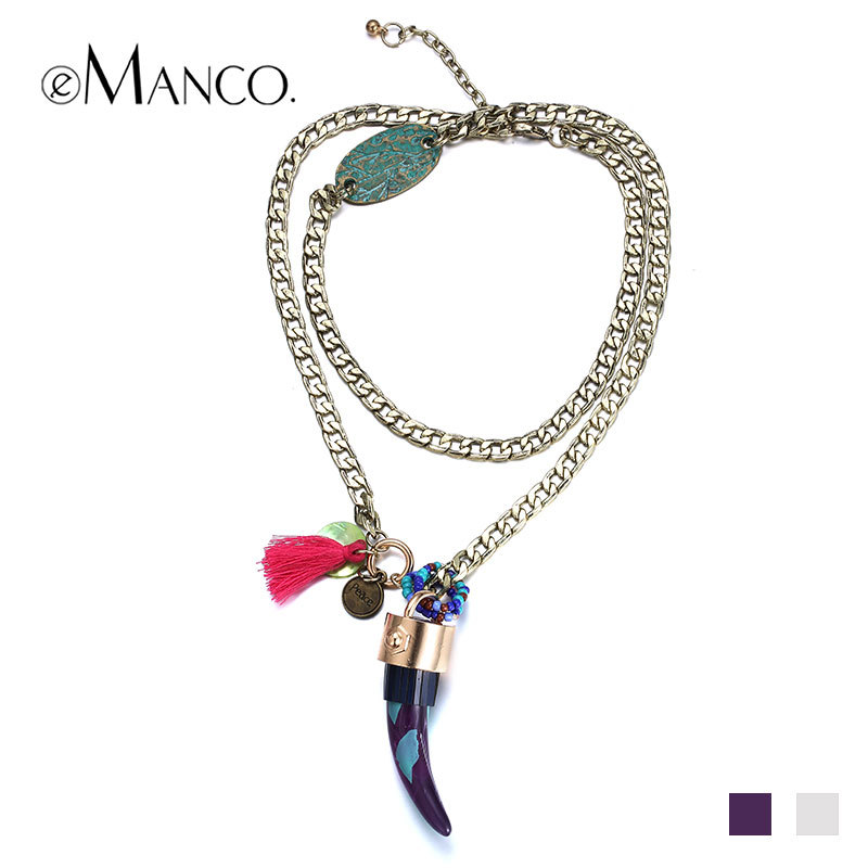 //Resin charm pendant long chain necklace// golden trendy necklaces pendants link chain collar long 2015 bijoux femme eManco(China (Mainland))