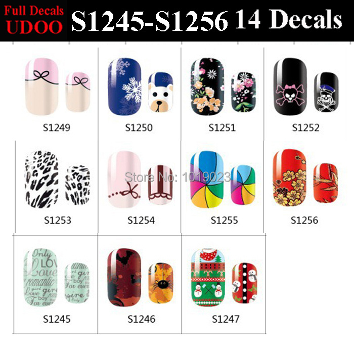 2pc/lot 11 Mix Styles Full Art Nail Sticker Ribbon Flake Bear Flower Skull Leopard Letter Spider design Nail Decals Manicure(China (Mainland))