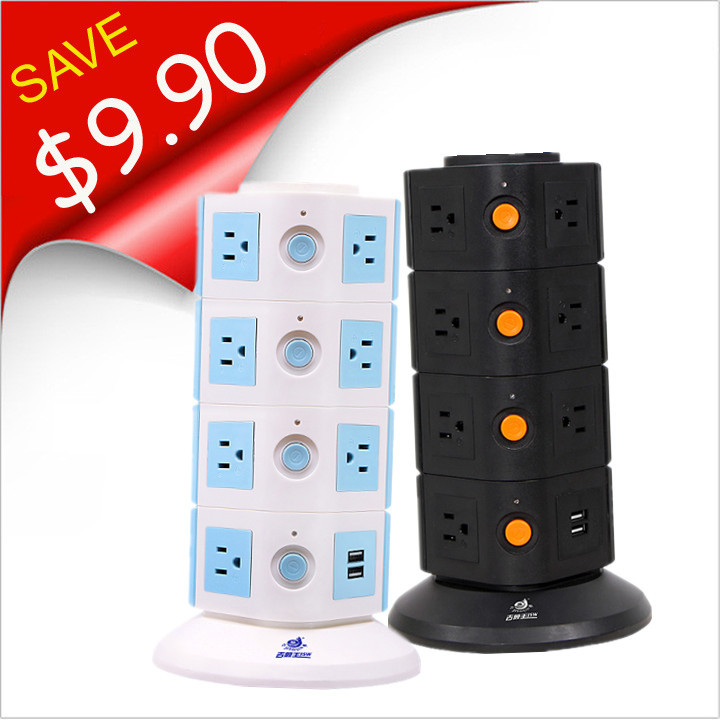 4 Floor US Outlet AC Socket with USB 2100mA Tower Extension Socket 15 Outlet 110-250V Individual Switch General Purpose 2pcs/lot(China (Mainland))