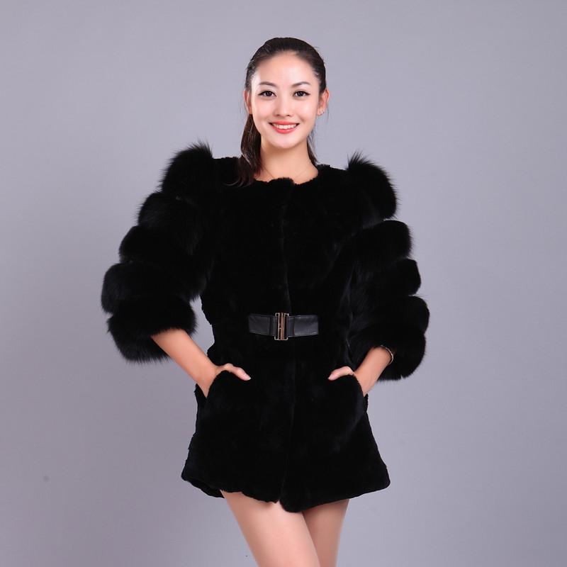 2016 New Women Real Fox and Rex Rabbit Fur Luxury Medium Coat Autumn Winter Slim Plus Size Hot Sale(China (Mainland))