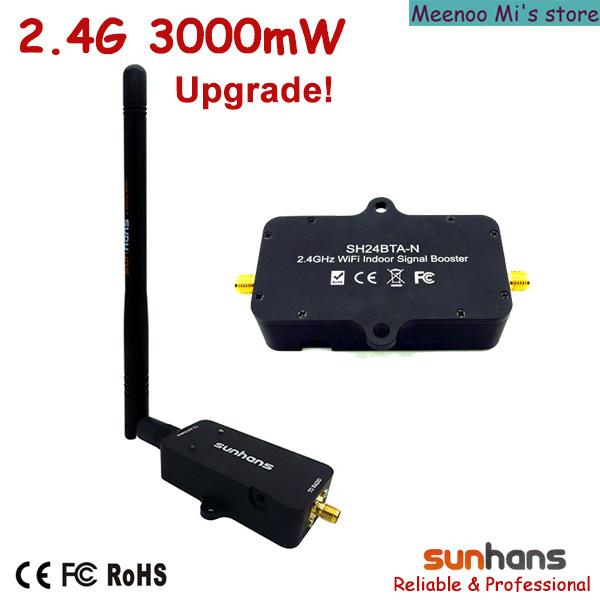 Hot sale! Original Sunhans 2.4G 3000mW wifi signal booster (SH24BTA-N) - Meenoo Mi's store
