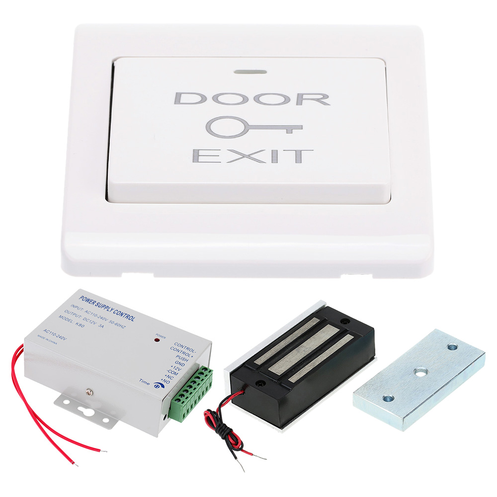 Electric Magnetic Lock 60KG/132lb + Door Exit Switch + DC12V Power Supply for Door Entry Access Control System(China (Mainland))