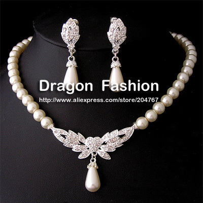 19 Designs Promotion Heart Angel Wing Butterfly Wedding/Bridal Pearl &Crystal Necklace Earrings Jewelry Set DFSPJS6057(China (Mainland))