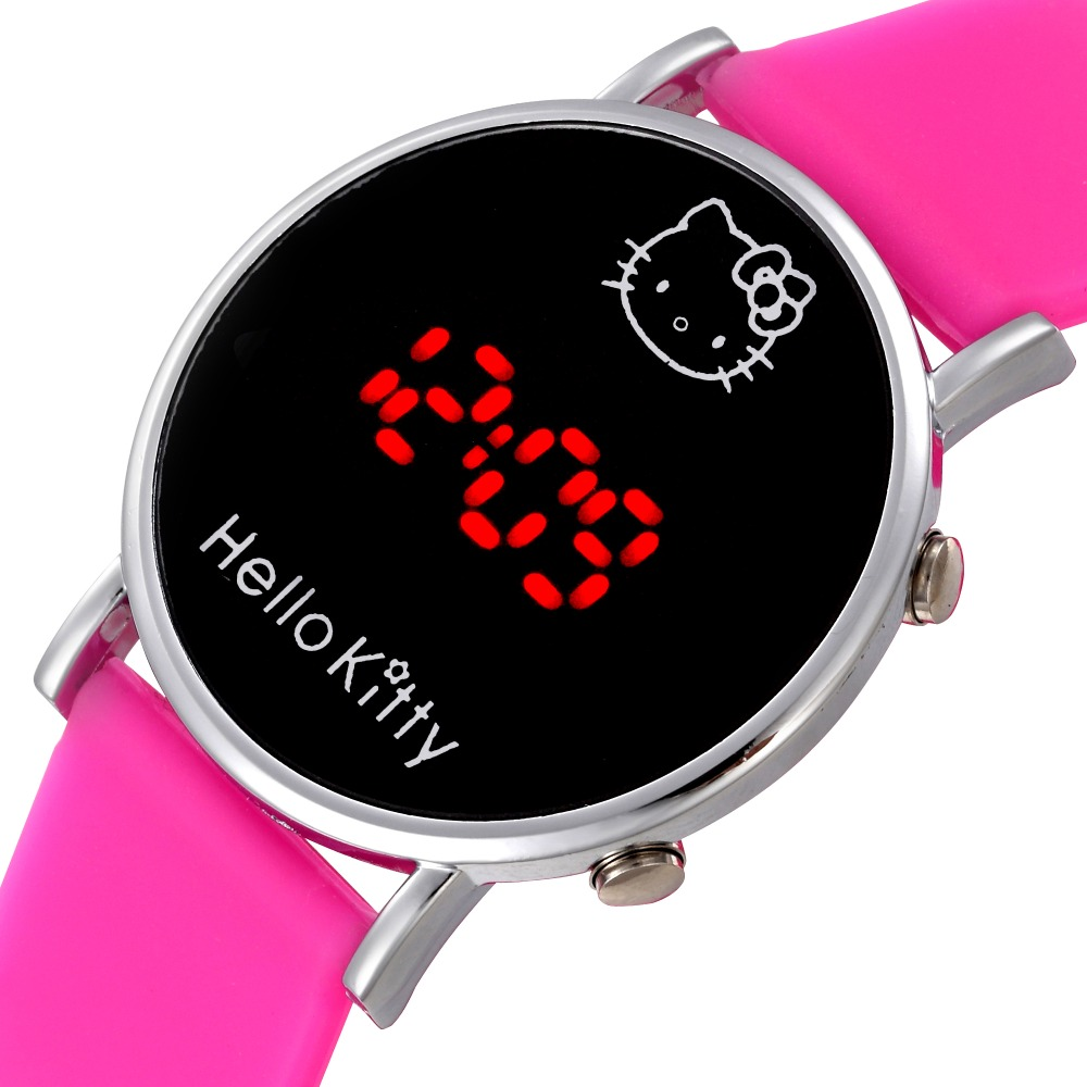 Multi Color Fashion Cartoon Watch Hello Kitty Watch for Girls Kid Children Casual Silicone Digital LED Quartz Wristwatches Reloj(China (Mainland))