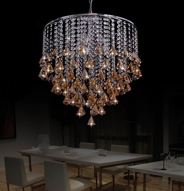 ,round stainless steel crystal chandelier dining room - Professional Crystal Chandelier Lighting store