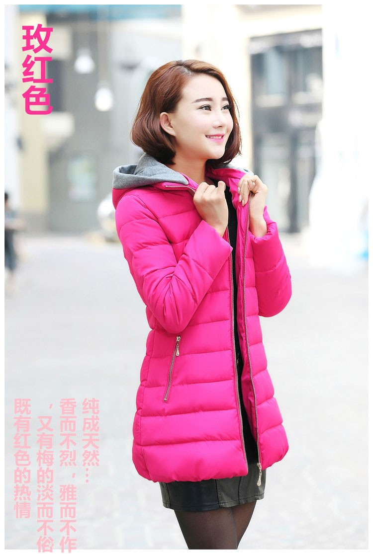 2016Latest Fashion Women Winter Hooded Thicken Keep warm Big yards Coat Elegant Leisure Medium long Women Down jacket Coat G1306