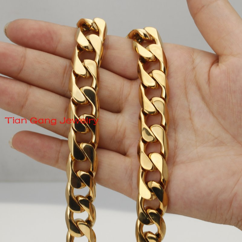 "New Fashion Gift 20""-36"" Gold Tone Mens Chain Jewelry Rombo Curb Link Necklace Stainless Steel 14.6mm Bulk Price High Quality(China (Mainland))"