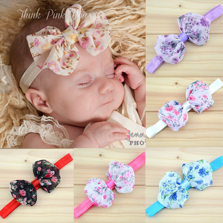 Cute Newborn Infant Baby Kids Girls Lace Print Floral Bow Headband Toddler Child Bowknot Flowers Hair Band Accessories(China (Mainland))