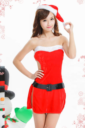 Sexy HotSexy Hot Lady Women Christmas Red Santa Claus Soft Costume Outfit Hat Dress Set(China (Mainland))