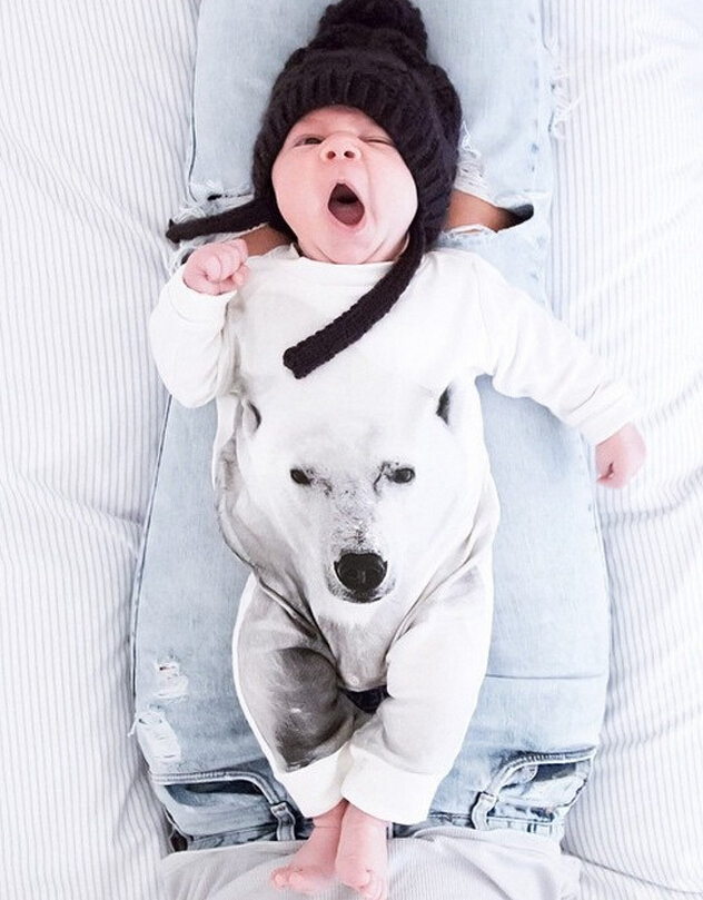 Retail 2015 Baby Boy 3D Digital Printing Polar Bear Romper lovely children jumpsuit For Cute Baby bays girls Outerwear Clothes(China (Mainland))