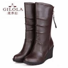 Nueva piel gruesa en el interior de la cuña tacones altos mitad rodilla botas de nieve de las mujeres botas otoño invierno mujer zapatos de las mujeres mejor # Y1150028F(China (Mainland))