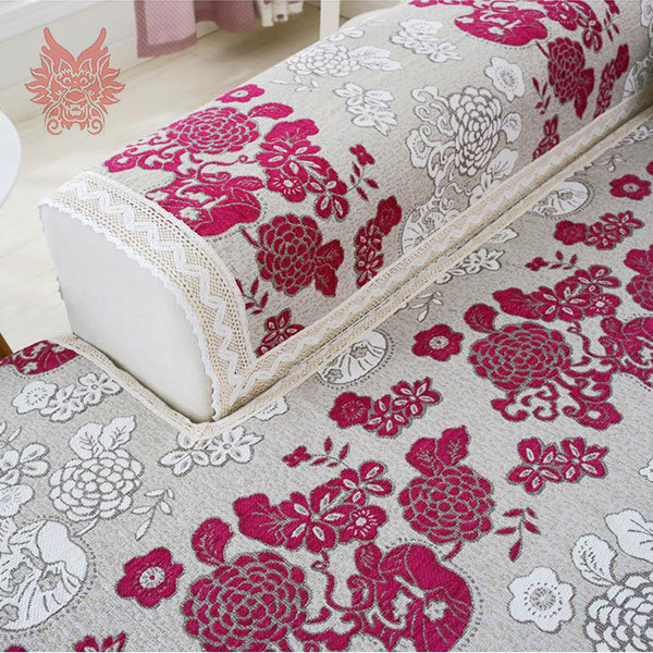 Buy red black floral sofa cover poly cotton chenille jacquar - Canape patchwork cinna ...